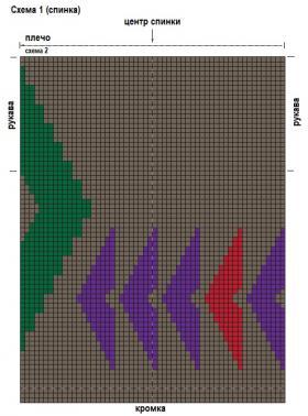 Длинный жилет с интарсией - Схема 1