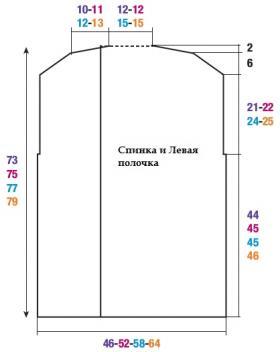 Длинный жилет с рельефным узором - Выкройка 1
