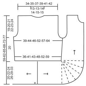 Жакет спицами укороченными рядами - Схема 2