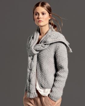 Жакет с шарфом рельефным узором