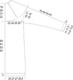 Туника с круглой кокеткой и ажурно-рельефным узором - Выкройка 1