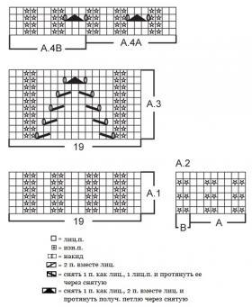Топ реглан спицами с ажурными элементами - Схема 1