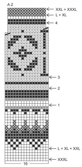 Джемпер с жаккардовым узором на кокетке - Схема 2