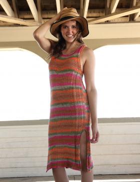 Летнее платье на бретелях в полоску