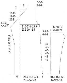 Кардиган с объемным узором в полоску - Выкройка 1