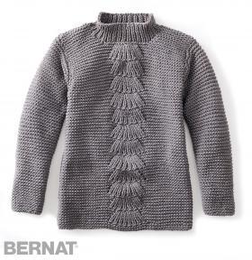 Пуловер платочной вязкой с веерным узором в центре - Фото 1