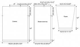 Ажурный жакет спицами с прямыми полочками - Выкройка 1