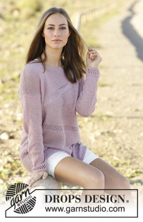 Пуловер с укороченными рядами и ажурным узором