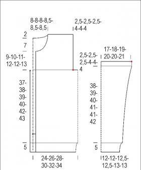 Кардиган со спущенной проймой и теневым узором - Выкройка 1