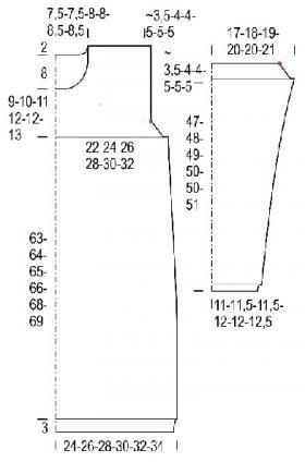 Туника с ажурным узором на кокетке и рукавах - Выкройка 1