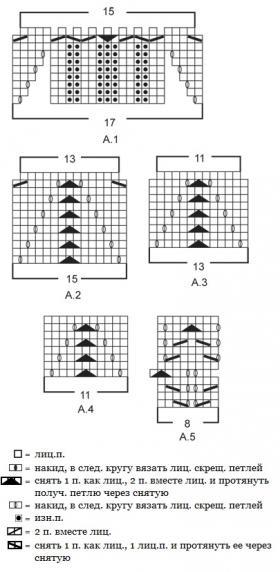 Юбка спицами с ажурными мотивами - Схема 1