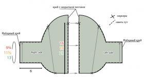 Болеро спицами с загнутыми краями - Выкройка 1