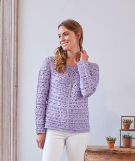 Пуловер с мелким ажуром сверху вниз