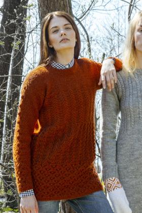 Пуловер с узорами ажура и шишечек