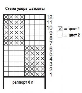 Митенки с цветным узором шахматы - Схема 1