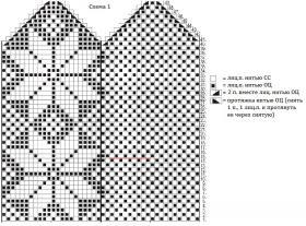 Варежки с узором снежинки - Схема 1