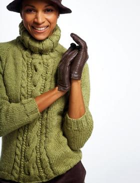 Водолазка спицами с укороченным рукавом