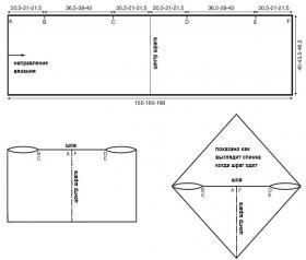 Свободный шраг с узором каракуль - Выкройка 1