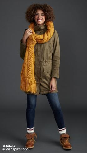 Супер шарф с узором соты и жгуты - Фото 2