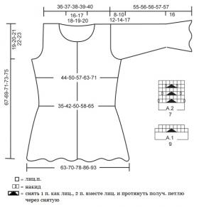 Приталенный жакет спицами с ажурным узором - Выкройка 1