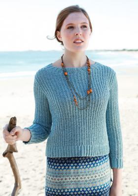 Укороченный пуловер с узором резинка