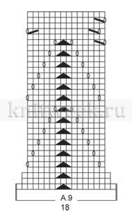 Жакет с прямоугольными полочками и ажуром - Схема 4