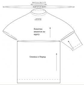 Пуловер реглан в спортивном стиле - Выкройка 1