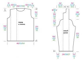Пуловер с дорожками из ажурных листьев - Выкройка 1