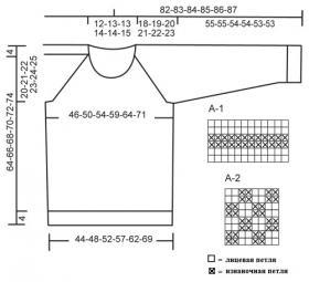 Джемпер реглан жемчужной вязкой - Выкройка 1