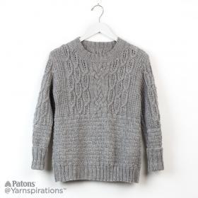 Пуловер с круглым воротником и рельефными узорами - Фото 1