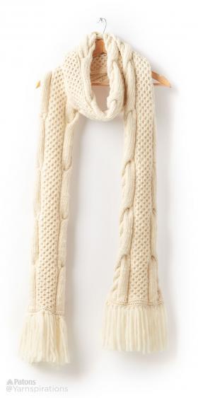 Супер шарф с узором соты и жгуты - Фото 3