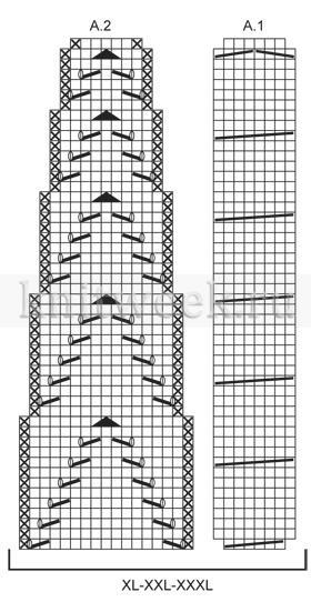 Жакет с круглой кокеткой со жгутами и ажуром - Схема 2