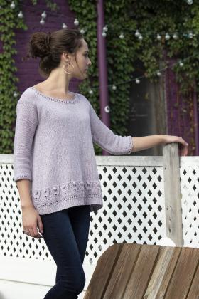 Пуловер с узором тюльпаны