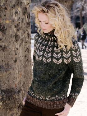 Пуловер с круглой кокеткой и жаккардом
