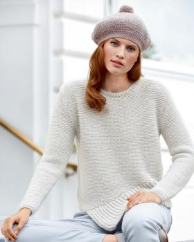 Пуловер с асимметричным низом платочным узором