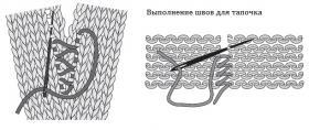 Теплые домашние тапочки с пуговицами - Схема 1