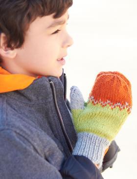 Детские разноцветные варежки