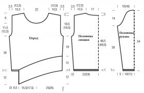 Пуловер с асимметричным низом платочным узором - Выкройка 1