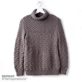 Пуловер с теневыми и ажурными узорами - Фото 1