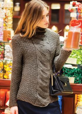 Пуловер с узором ложный жгут