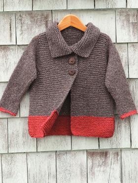 Детское пальто чулочной вязкой