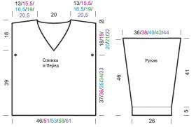 Пуловер с узором резинка и спущенной проймой - Выкройка 1