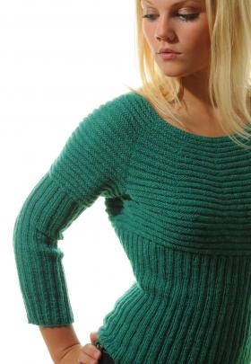 Пуловер с круглой кокеткой узором резинка