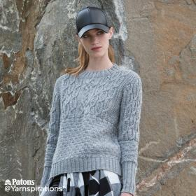 Пуловер с круглым воротником и рельефными узорами