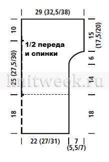 Топ с глубоким вырезом и ажурным узором - Выкройка 1