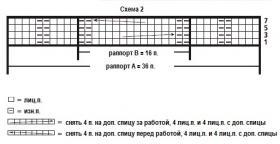 Свитер с узором из жгутов и кос - Схема 2