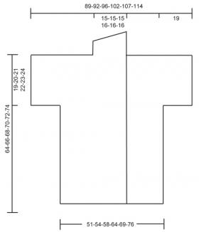 Ажурный жакет крючком с воротником шалька - Выкройка 1