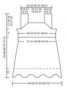 Топ спицами с квадратным вырезом горловины - Выкройка 1