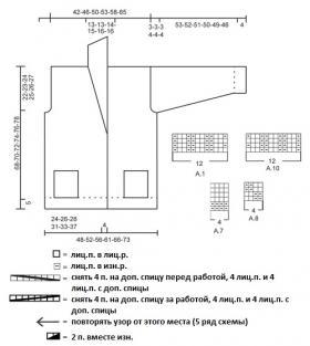 Жакет с шалевым воротником и жгутами - Схема 1