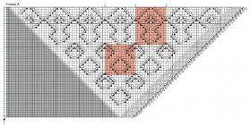 Треугольная шаль с ажурными ромбами - Схема 1